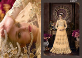 Magnificently Crafted Cream Colored Heavy Net Designer Semi Stitched Suit