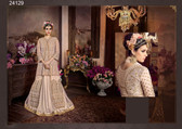 Magnificently Crafted Beige Colored Heavy Net Designer Semi Stitched Suit