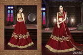 Exquisite & Timeless Maroon Colored Net Lehenga