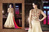 Exquisite & Timeless Cream Colored Banglori Satin Lehenga
