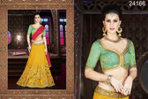 Exquisite & Timeless Mustard Colored Silk Lehenga