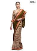 Elegant & Timeless Off White & Moss Green Colored Printed Designer Silk Saree