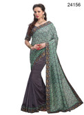 Elegant & Timeless Grey & Green Colored Printed Designer Silk Saree