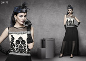 Ultra-chic Black & Off White Colored Designer Georgette Kurti