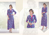 Colorful & Stylish Pink & Blue Colored Rayon Print Designer Kurti