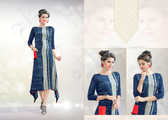 Colorful & Stylish Grey & Blue Colored Rayon Print Designer Kurti