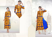 Colorful & Stylish Mustard & Blue Colored Rayon Print Designer Kurti