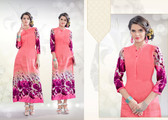 Colorful & Stylish Light Pink Colored Rayon Print Designer Kurti