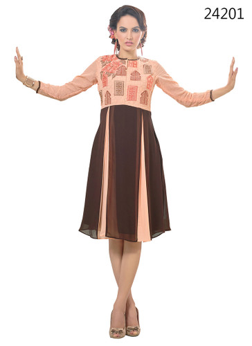 Delightfully Attractive Beige & Coffee  Color Faux Georgette Kurti