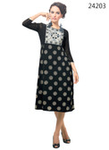 Delightfully Attractive Black Color Faux Georgette Kurti