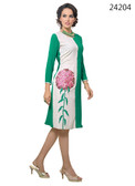 Delightfully Attractive White & Green Color Faux Georgette Kurti
