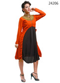 Delightfully Attractive Orange colored Georgette Designer Kurti