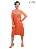 Delightfully Attractive Orange colored Georgette Premium Kurti