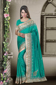 Fashionable & Timeless Teal Green Colored Art Silk Saree