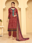 Incredibly Elegant Maroon Colored Rayon Modal Suit