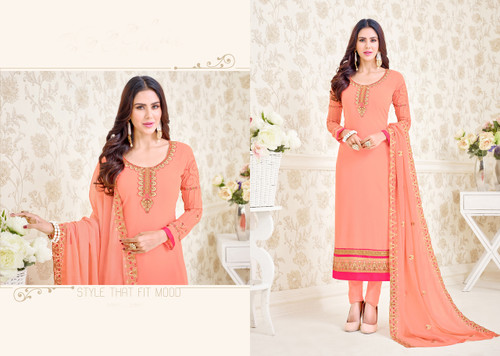 Charming & Elegant Light Orange Colored Georgette Designer Suit