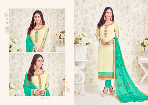 Charming & Elegant Off White Colored Georgette Suit
