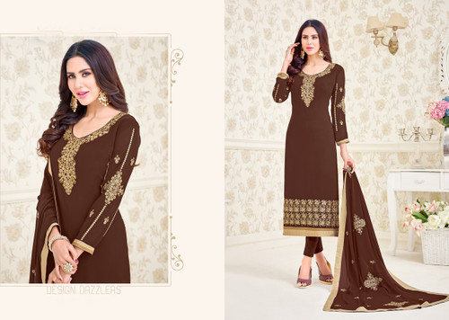 Charming & Elegant Brown Colored Georgette Suit