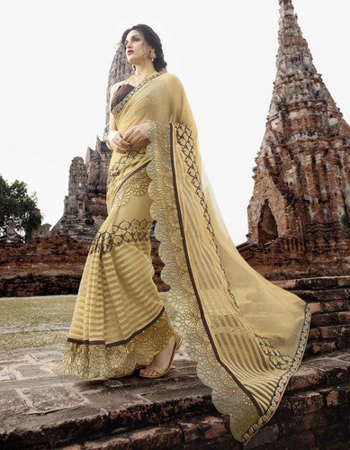 Attractive & Trendy Light Yellow Color Georgette & Net Saree