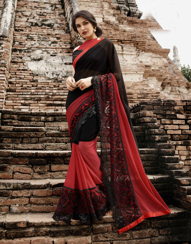 Attractive & Trendy Red & Black Color Georgette & Net Saree