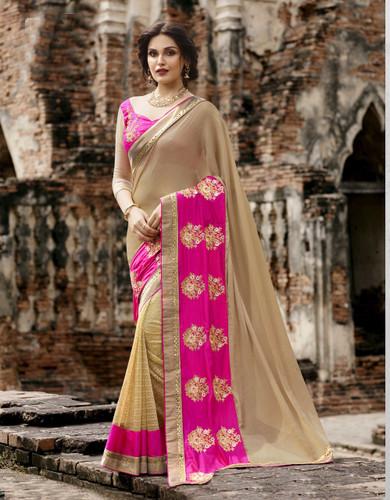 Attractive & Trendy Beige & Pink Color Georgette & Net Saree