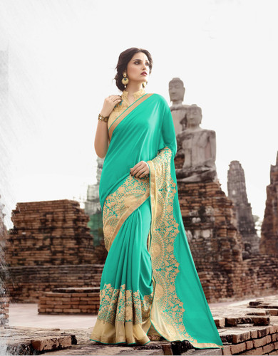 Attractive & Trendy Sky Blue Color Georgette & Net Saree