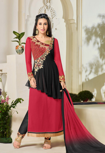 Chic & Classy Black & Red Colored Georgette Suit
