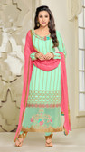 Chic & Classy Sky Green Colored Georgette Suit