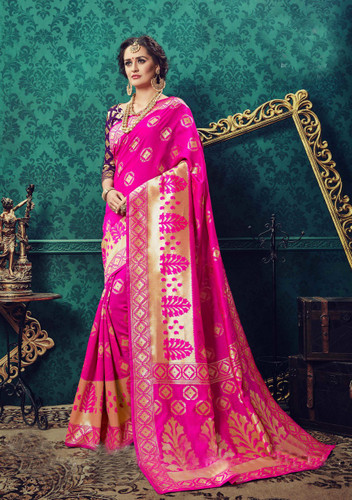 Charming & Catchy Pink Colored Cotton Silk Designer Saree