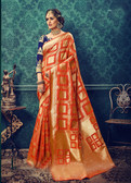 Charming & Catchy Orange Colored Cotton Silk Saree