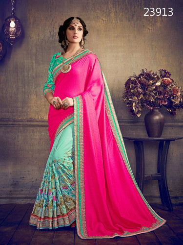 Delightfully Classy Sea Green & Fuchsia Pink Colored Khadi & Art Silk Saree