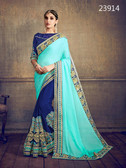 Delightfully Classy Sky & Blue Colored Moss Chiffon Saree