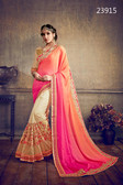 Delightfully Classy Shaded Orange & Cream Colored Satin Georgette Saree