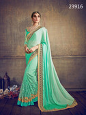 Delightfully Classy Sea Green Colored Chiffon & Net Saree
