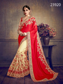 Delightfully Classy Red & Cream Colored Satin Silk & Net Saree