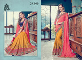 Bright & Graceful Mustard & Pink Colored Jacquard & Two tone silk Saree