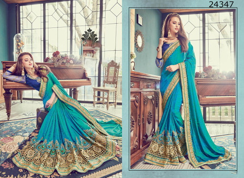 Bright & Graceful Sky Blue Colored Two Tone Jacquard satin Saree