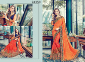 Bright & Graceful Orange Colored Two Tone Jacquard & Satin Saree