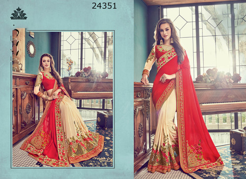 Bright & Graceful Cream & Red Colored Crepe Silk Saree