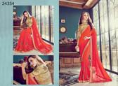 Bright & Graceful Shaded Orange Colored Satin Silk Saree