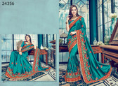 Bright & Graceful Teal Colored Satin Silk Saree