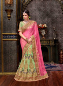 Elegant & Modern Pink & Light Parrot Colored Chennai Silk Saree