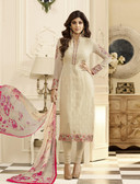 Uniquely Trendy Light Beige Colored Georgette schiffli Suit