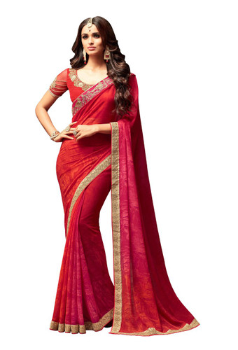 Attractive & Vibrant Red Colored Star Georgette Premium Saree