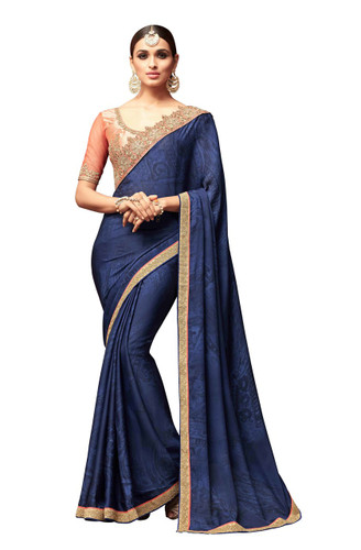 Attractive & Vibrant Dark Blue Colored Super Silk Georgette Saree