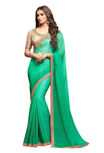 Attractive & Vibrant Green Colored  Sunshine Chiffon Saree