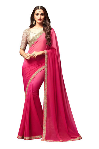 Attractive & Vibrant Pink Colored  Star Georgette Saree