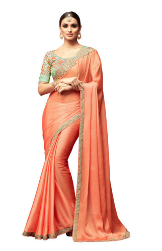 Attractive & Vibrant Peach Colored Korian Silk Chiffon Saree