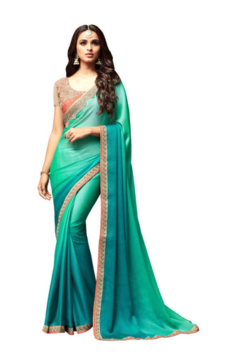 Attractive & Vibrant Green Colored Korian Silk Chiffon Saree