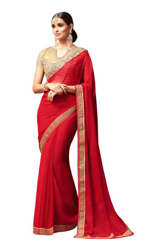 Attractive & Vibrant Red Colored Star Georgette Designer Saree